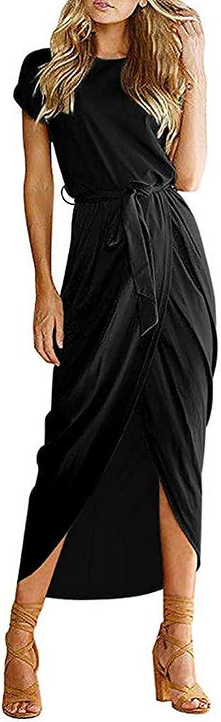 Qearal Women Summer Short/3/4 Sleeve Belted Dress Elastic Waist Slit Long Maxi Dress