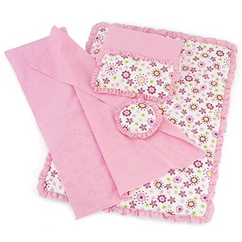 18 Inch Doll Clothes Accessories for American Girl Dolls | Reversible Floral Print Doll Bedding 5 Piece Set | Fits 18' Our Generation and Journey Girls Dolls