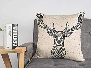 Decorative Linen Throw Pillow Cover Whitetail Horned Deer Graphic Head Texture White Design Rack Animals Tattoo Wild Wildlife Vintage Cozy Cushion Covers 20 x 20 Inches for Bed Car Lving Room