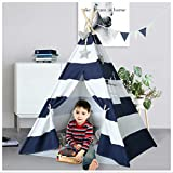 Ukadou Kids Teepee Tent for Boys Navy White Stripe Teepee Tent Indian Canvas Tents for Toddlers Indoor Playhouse Play Tent for Kids