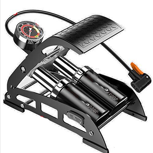 HQ2 Bomba de pie de Doble Cilindro con manómetro preciso y válvula Inteligente, Bomba de Aire 160PSI para Bicicletas, Motocicletas, automóviles, Bola y Otros Dispositivos inflables