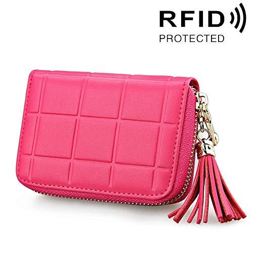 XIANRUI Factual Leather Grid Texture Zipper Kartenhalter Geldbörse RFID Blocking Card Bag Schützen Fall Geldbörse mit Quaste Kronleuchter & 15 Kartenfächer für Frauen, Größe: 11 * 8 * 2,7 cm