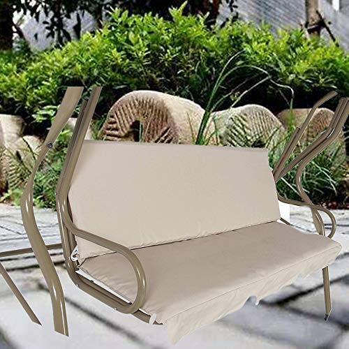 boyspringg Patio Swing Cushion Cover Waterproof Swing Seat Cover Replacement for 3 Seat Swing Chair All Weather Swing Chair Protection 150X50X10CM (Beige)