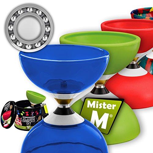 Mister M ✓ Das Ultimative Kugellager Diabolo Set ✓ Kugellager Diabolo ✓ Alu Stöcke ✓ Online Lern-Video ✓ Geschenkbox (Clear Blue)