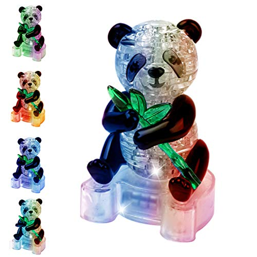 Coolplay 3D Jigsaw Crystal Puzzle Flashging Puzzle Colourful Lights in Cute Panda Model Clear Building Blocks DIY Gadget Toy Gift for Adult