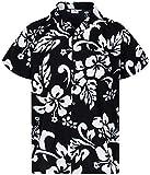 Funky Camisa Hawaiana, Manga Corta, Hibiscus, Negro, XS