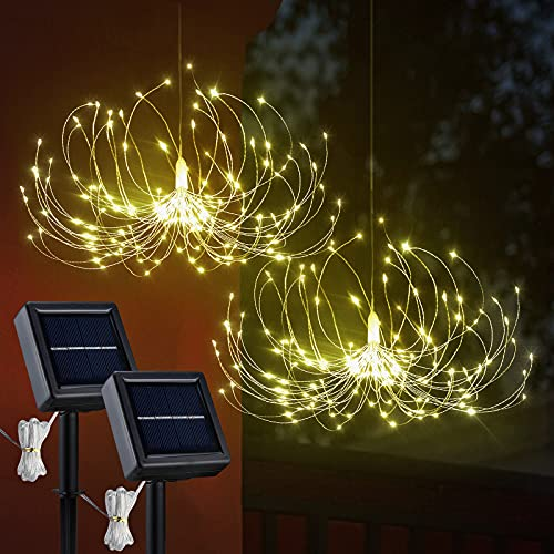 VILLTAK Solar Firework Lights, 180 LED Outdoor Chandelier for Gazebo, Hanging Solar Chandelier, 8 Modes Garden Fireworks Lamp, DIY Starburst Lights Decor for Christmas Yard Pathway (2 Pack)
