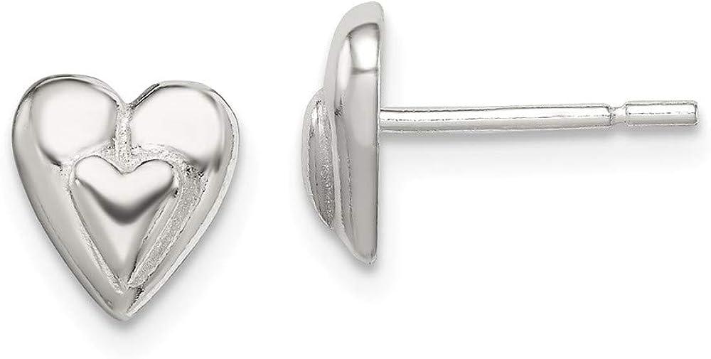 925 Sterling Silver Popular overseas Heart Superlatite 8mm Earring Studs