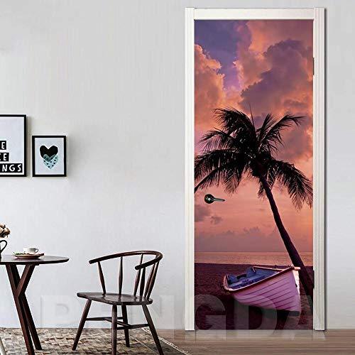 Wnyun Art Deur Sticker DIY Decoratie Mural Waterdichte Beeld Kokosnoot Boot Landschap Behang Zonsondergang Zee Zelfklevende Home Decoratie 95x215cm