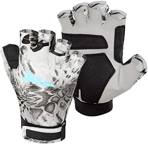 KastKing Gil Raker Gloves UPF50+ Fishing Gloves UV Protection Gloves Sun Gloves for Men Or Women for Fishing, Outdoor, Kayaking, Rowing, Sailing, Canoeing, Hiking, Biking - Silver Mist Prym1, Large