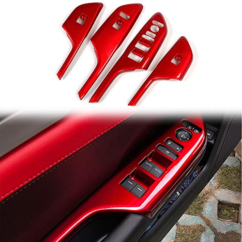 BOYUER 4PCS Window Switch Decoration Decal Frame Cover Panel Trim Door Handle Armrest Trim for Honda Civic 2016 2017 2018 2019 2020(RED)