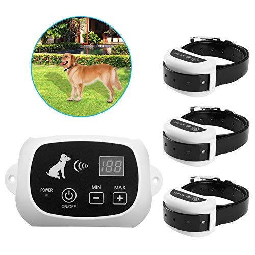 Wireless Dog Fence Electric Pet Containment System,Waterproof Reflective Stripe Collar Rechargeable Dog Collar,Adjustable Range LED Distance Display for All Dogs,for3dogs