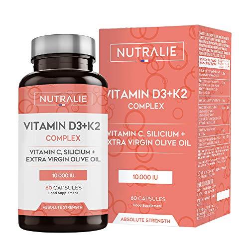 Vitamine D3 10.000 UI + K2 MK7 Haute Dose et Puissance | Contribue au Système Immunitaire, aux Os et Muscles grâce à la Vitamine D3, K2, C, Silicium et Huile d'Olive Extra Vierge | 60 Gélules Nutralie