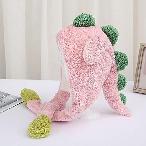 Funny and Moving Dinosaur Shaped Plush Bomber Hat,Plush Ear Moving Hat Jumping Dinosaur Cap Cosplay Christmas Party Holiday Hat Silly Hats(pink)