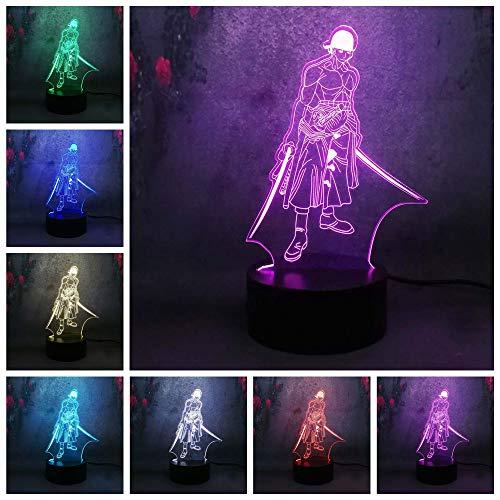 Solo 1 pieza 3D USB Color Lustre Lámpara Luz nocturna Dibujos animados Anime UNA PIEZA animales Aventura Niño Lámpara de mesa Kid Holiday Gift Decor