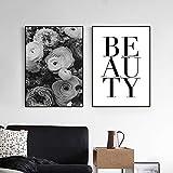 adgkitb canvas Schwarzweiss-Blumen-Segeltuch s und Zitate Nodic Wand-Kunst-Druck-Wand-Bilder für Schlafzimmer 50x70cmx2 KEIN Rahmen