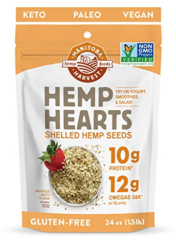 Manitoba Harvest Hemp Hearts Shelled Hemp Seeds, 24oz; 10g Plant-Based Protein & 12g Omegas per Serving, Whole 30 Approved, Vegan, Keto, Paleo, Non-GMO, Gluten Free