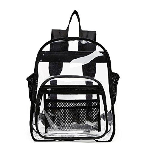 Transparenter Rucksack mit Netz-Innentaschen, Schwarz (schwarz), Large