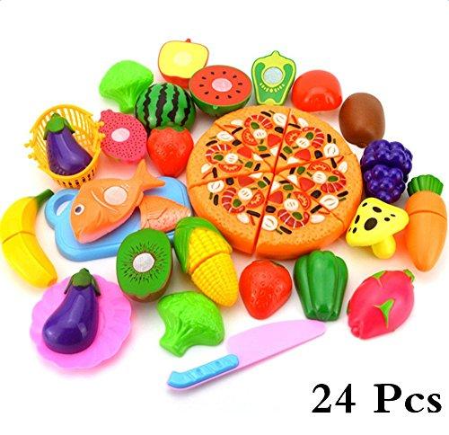 Haodu Niños Fruta Cortar Juguete Cocina de Plástico Jugar Alimentos Corte de Vegetales Pretender Juegos de Rol Juego de Herramientas de 24 piezas Edición de Pizza