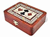 House of Cribbage - 2 Track - Wooden Cribbage Board / Box - Inlaid in Bloodwood...