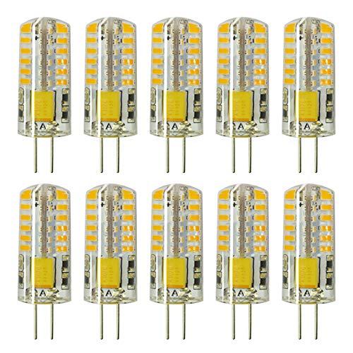 Rayhoo 10pcs G4 LED Bulbs JC Bi-Pin Base Light Bulbs 3W AC/DC 12V 20W-30W T3 Halogen Bulb Replacement Landscape Bulbs(Warm White 3000K)