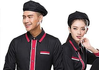 losofar Women Men 2pcs Beret Mesh Breathable Work Chef Hat for Home School Restaurant Kitchen Food Service Protective Cap (Black(2PCS)