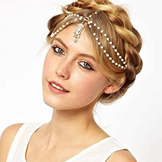 Catery Bride Wedding Headbands Jewelry Pearl Flower Tassels Hair Chain Boho Headpiece Head Chain Spring Summer Christmas Head Chains Vintage Hair Jewelry for Women and Girls
