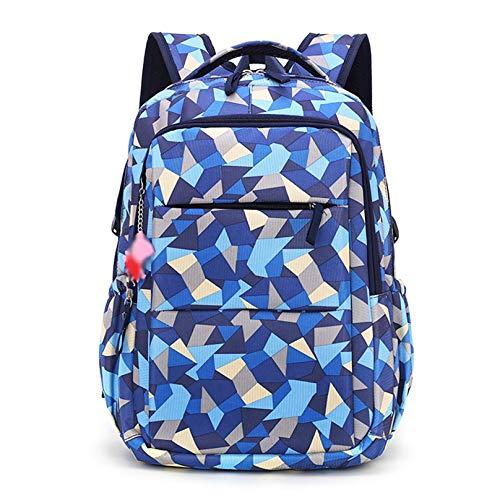 MODRYER Mochila de Las Niñas Mochila Geométrica Impresa Escolar Bolsa Impermeable Liviano Rucksack Mochila para la Escuela de Almuerzo de Viaje,Blue-Medium(48 * 33 * 24cm)
