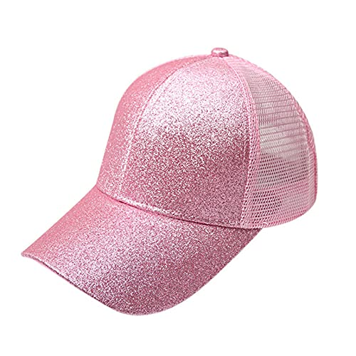 UKKD Gorra De Béisbol Cola De Caballo Gorra De Béisbol Mujer Snapback Verano Malla Sombrero Femenino Moda Hip Hop Hats Casual Al Aire Libre-Shiny Pink,1