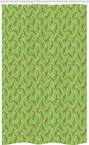 ABAKUHAUS Jazz muziek Douchegordijn, Saxofoons op Groen, voor Douchecabine Stoffen Badkamer Decoratie Set met Ophangringen, 120 x 180 cm, Groen Geel Bruin