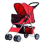 PawHut Pet Stroller Cat Dog Basket Zipper Entry Fold Cup Holder Carrier Cart Wheels Travel Red 10