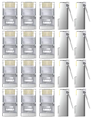 GeekerChip 20 Pezzi Plug Connettori di Rete Cat6,Placcato in Oro 24K per CAT 6,CAT 5e e CAT 5 Schermato RJ45 8P8C Connettore per STP Ethernet Network Cavo Spina Modulare a Crimpare