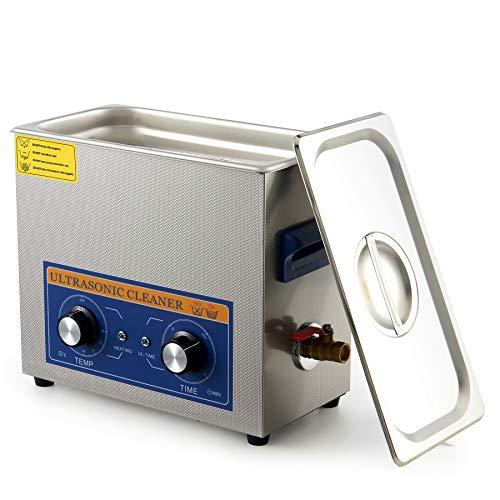 VONLUCE Pulitore Ultrasuoni Professionale con Riscaldatore e Timer 180W Lavatrice ad Ultrasuoni Industriale per la Sterilizzazione Domestica e da Laboratorio Professionale, Acciaio Inossidabile