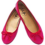 Petruska Ballerinas Hawaii - Fuchsia Rot Leder, Ballerina Schuhe in Fuchsia mit roter Zierkordel aus Leder (39 EU)