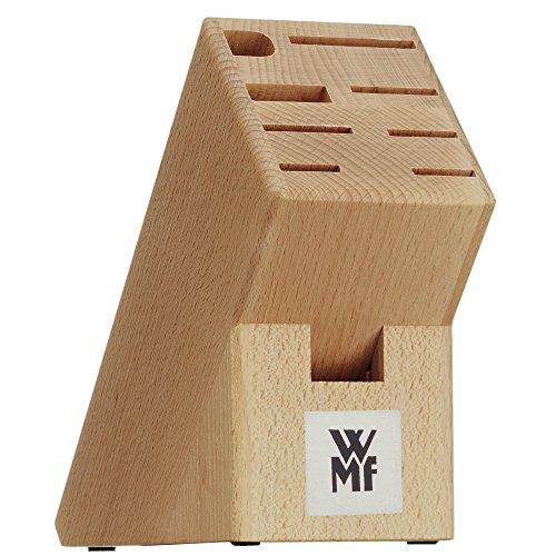 WMF Messerblock ohne Messer, unbestückt, Holz, Buchenholz, leer, für 6 Messer, 1 Fleischgabel, 1 Wetzstahl, 1 Schere