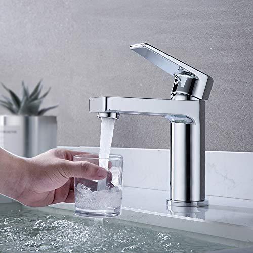 DUTRIX Wasserhahn Bad, Waschtischarmatur Chrom, Bad Mischbatterie, Einhebelmischer für Badezimmer Waschtisch, Waschbecken-Armatur, Moderner Stil