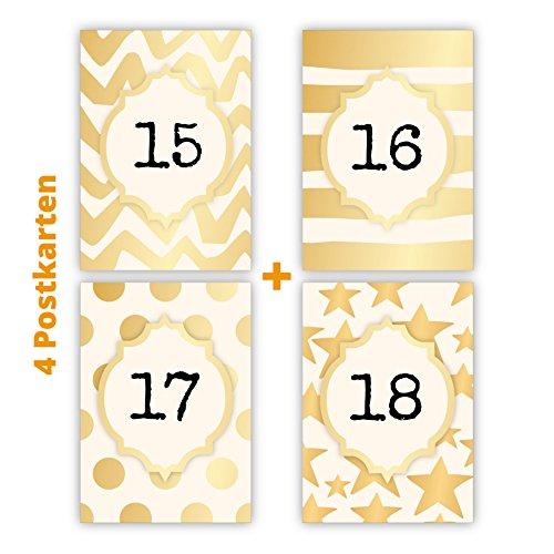 Set van 4 mooie verjaardagskaarten voor 15-18 jaar in goudlook