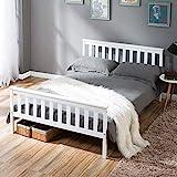 ModernLuxe Weiß Einzelbett Jugendbett 90 x 200 cm Kinderbett Holzbett aus Bettgestell mit Lattenrost und Kopfteil, Singlebett Kiefer Massivholz Bett Gästebett