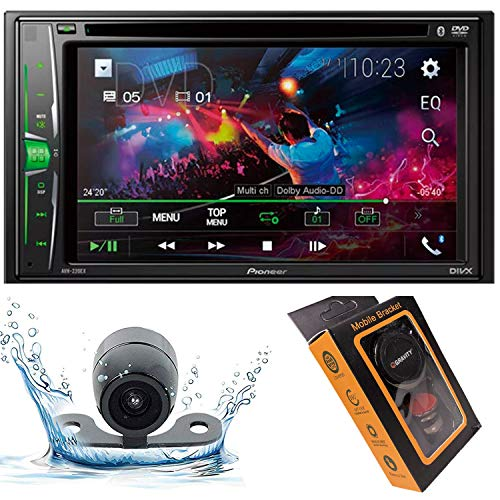 "Pioneer AVH-220EX Double DIN Bluetooth in-Dash DVD/CD Digital Media Car Stereo Receiver w/ 6.2"" WVGA Touchscreen Display with HD Camera and Gravity Magnet Phone Holder Bundle"