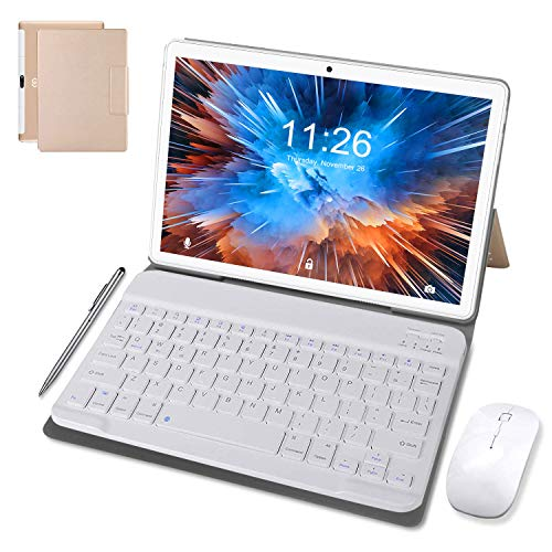 10 Inch Tablet Android 9.0, Quad Cord, 64GB ROM 4GB RAM 128GB Scalable, Google Play, WIFI, GPS, Cameras, Dual SIM, 1280*800 HD IPS Screen - DUODUOGO 10 Inch Tablet Pad GMS Google Certification (Gold)