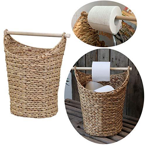 LS-LebenStil Toilettenpapier-Ständer Vintage Braun Deko-Korb Klorollen-Halter WC Rollenhalter