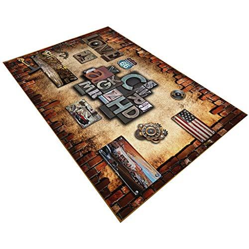 XDTRE Paillasson Tapis Court Fluff 8mm Tapis Tapis De Porte Retro Nostalgique Style Industriel Anti-Slip Lavable Lavable Table Pads pour Le Salon Chambre (Couleur : F, Taille : 80x120cm)