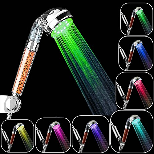 APzek - Duschkopf, Handbrause, Hochdruck-LED-Duschkopf mit 7 wechselnden Farben, wassersparend, negativer Ionenfilter, Duschkopf (7 Farben)