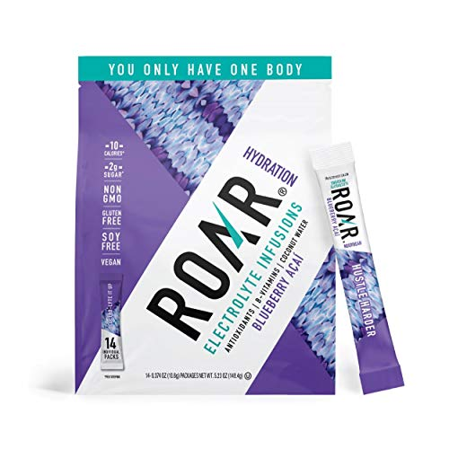 ROAR Electrolyte Infusions Powder Sticks, Healthy Hydration and Hangover Cure, Blueberry Acai, Pack of 14 Sticks