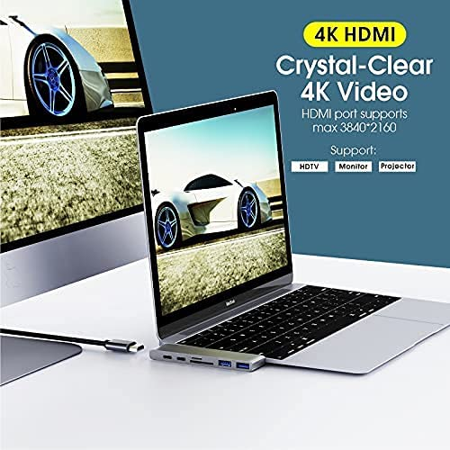 Premium (Every Unit Tested, Premium Materials Used) 7 in 1 USB C Hub Multiport Adapter to USB 3.0 PD Charging HDMI-Compatible Docking Station for Any dualport MacBook (Pro or Air)