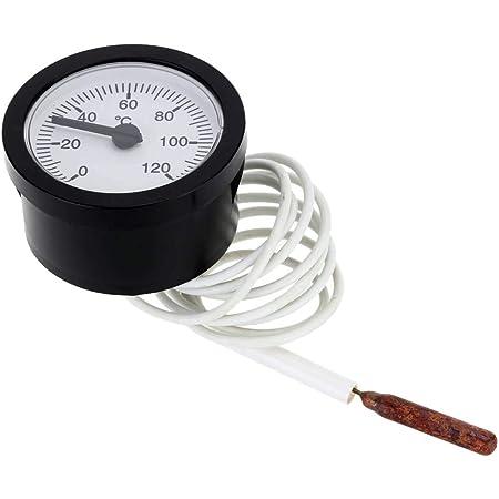 Elenxs 52mm Dial Thermometer Kapillar Temperaturanzeige Mit 1 5m Sensor 0 120 Grad Celsius Für Mess Wasser Flüssig Küche Haushalt