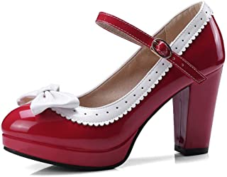 HILIB Woman's High Heel Lolita Shoes Cute Bowknot Mary Jane Shoes
