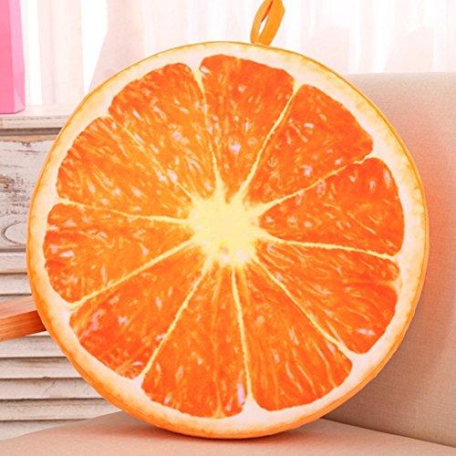 Everyday - Coussin rond doux pour siège - Motif : Kiwi / Orange / Pastèque, Orange, 3
