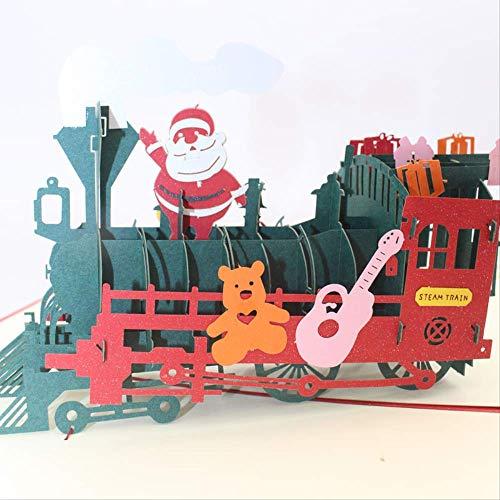 Creative Greeting Card Christmas Greeting Card 3D Greeting Card Stereo Greeting Card Paper Cut Greeting Card Laser Santa Claus Train Gift