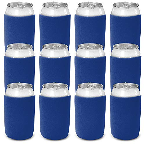 CSBD Beer Can Coolers Sleeves, Soft Insulated Reusable Drink Caddies for Water Bottles or Soda, Collapsible Blank DIY Customizable for Parties, Events or Weddings, Bulk (50, Blue)